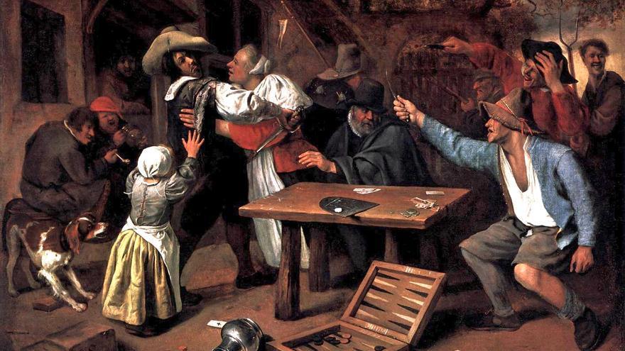 'Bronca por una partida'. Jan Steen (s. XVII)