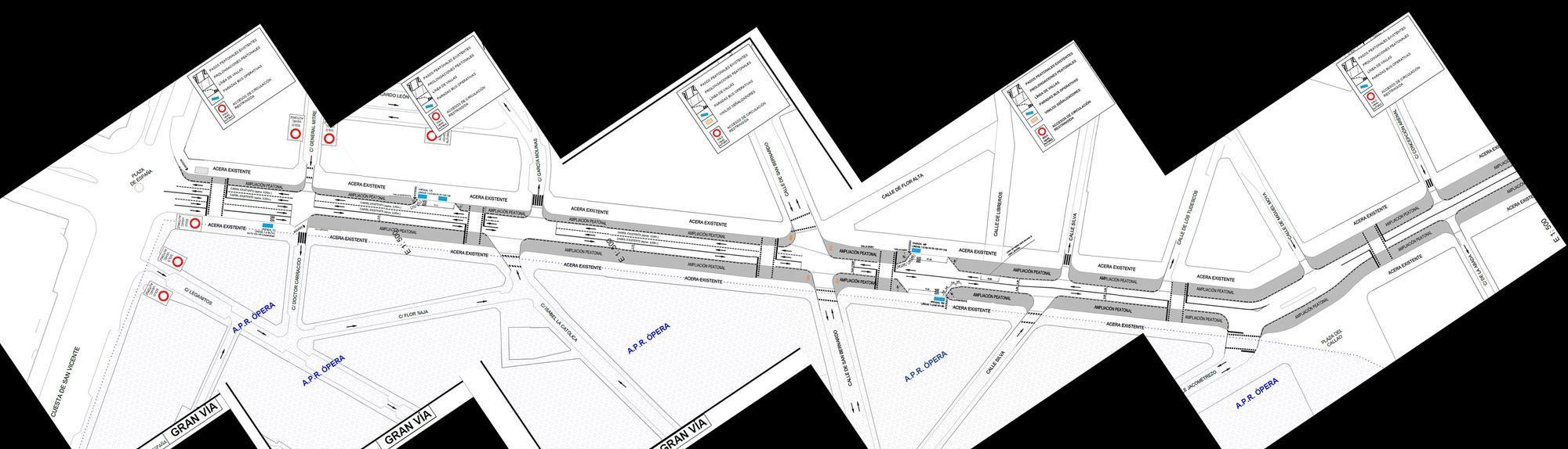 Plano de la ampliación de aceras prevista en la Gran Vía para navidad (pincha para ampliar) | AYUNTAMIENTO DE MADRID