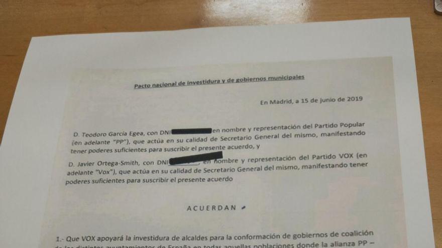El acuerdo firmado por PP y Vox