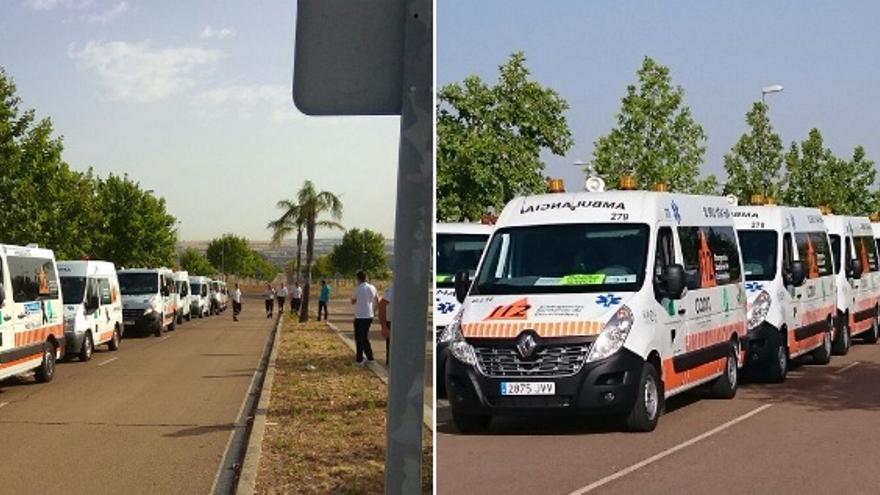Protesta del consorcio extremeño de transporte sanitario / Foto: @IuExtremadura