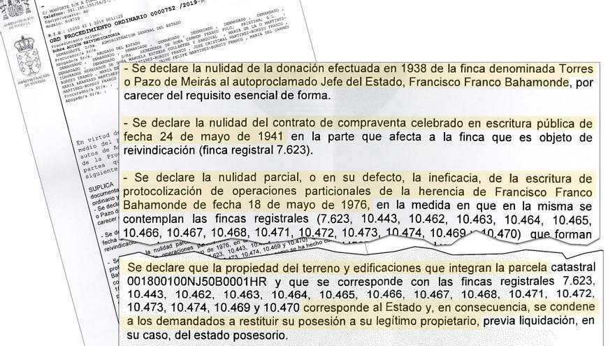 Peticiones de la Abogacía del Estado al juzgado que instruye la demanda por el Pazo de Meirás