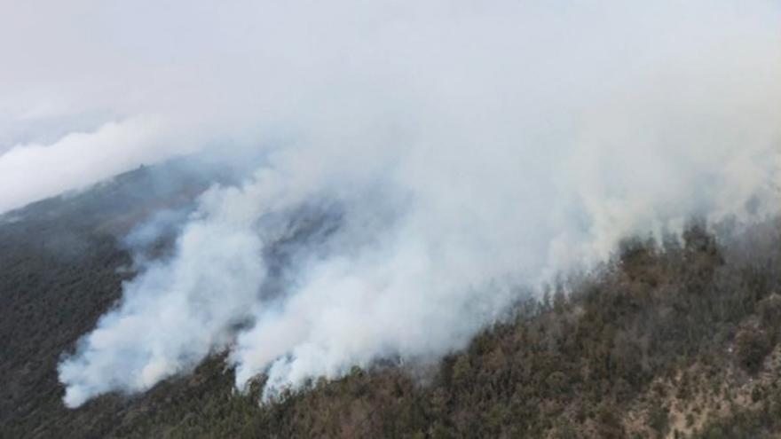 Vista aérea del fuego que afecta a los altos de Chasna, en el sur de Tenerife