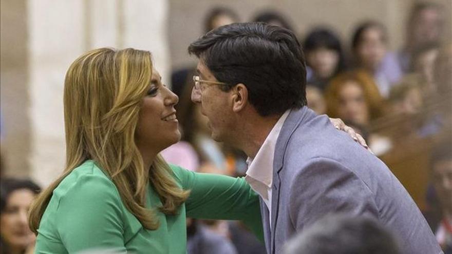 Susana Díaz fue, en su día, presidenta de la Junta por un pacto con Juan Marín (Cs), hoy vicepresidente del trifachito de PP-Cs que apuntala Vox.