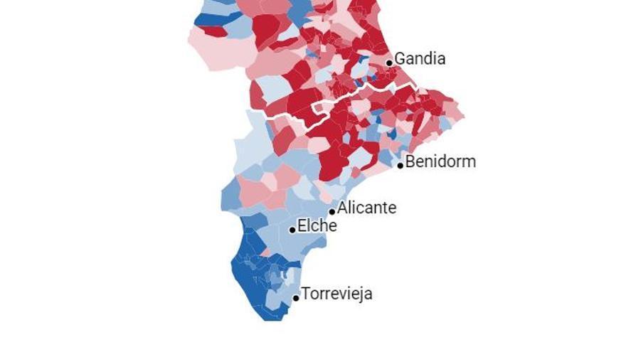 En tonos azulados, los municipios en los que ha ganado el bloque de derechas