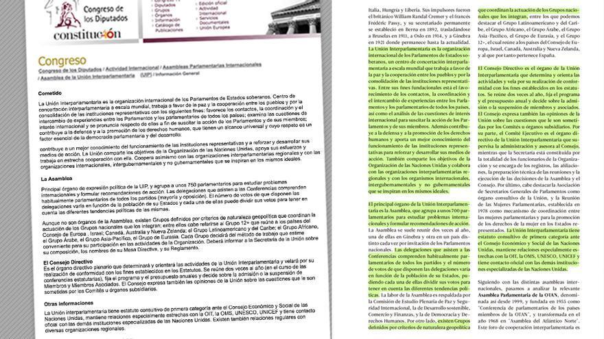 Texto plagiado sobre la Asamblea de la Unión Interparlamentaria.
