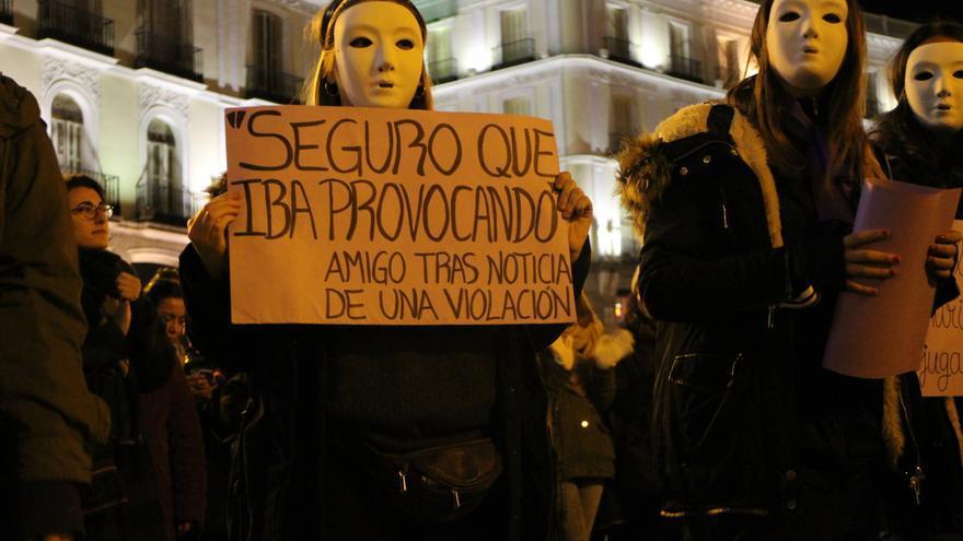 Momento de la acción realizada por el Bloque Feminista Estudiantil