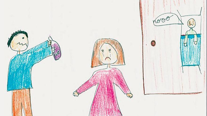 Dibujo de una niña víctima de la violencia de género