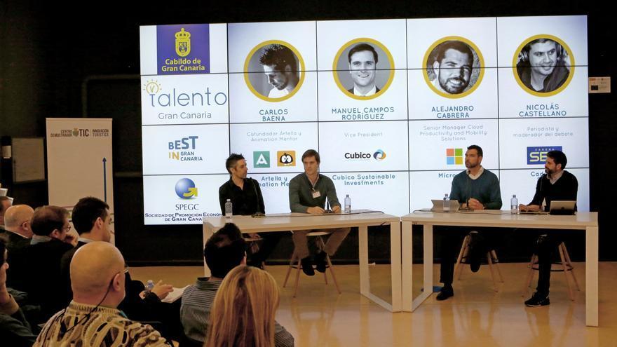 Carlos Baena, Manuel Campos Rodríguez, Alejandro Cabrera y Nicolás Castellano en el encuentro 'Talento Gran Canaria'
