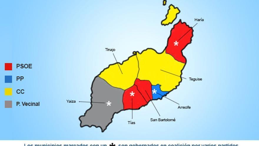 Mapa político de la isla de Lanzarote.