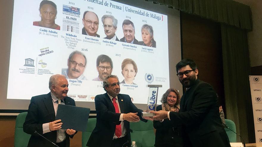 Tábora, durante la entrega del premio Libertad de Prensa   UMA