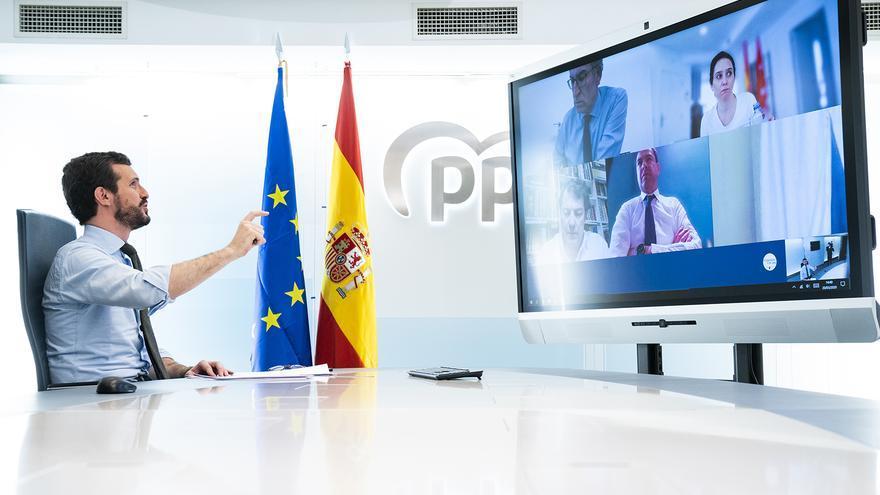 Pablo Casado, esta semana, durante una videoconferencia con los presidentes autonómicos del PP.