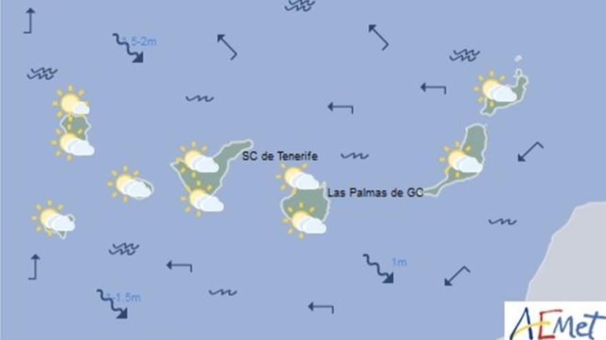 Mapa con la previsión meteorológica para este martes, 11 de abril de 2017