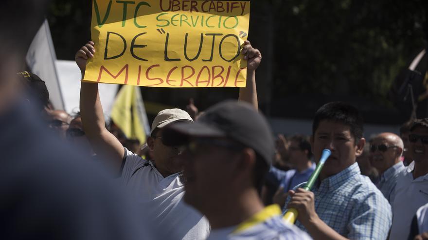 Protesta de taxistas en Madrid. Foto: Fernando Sánchez