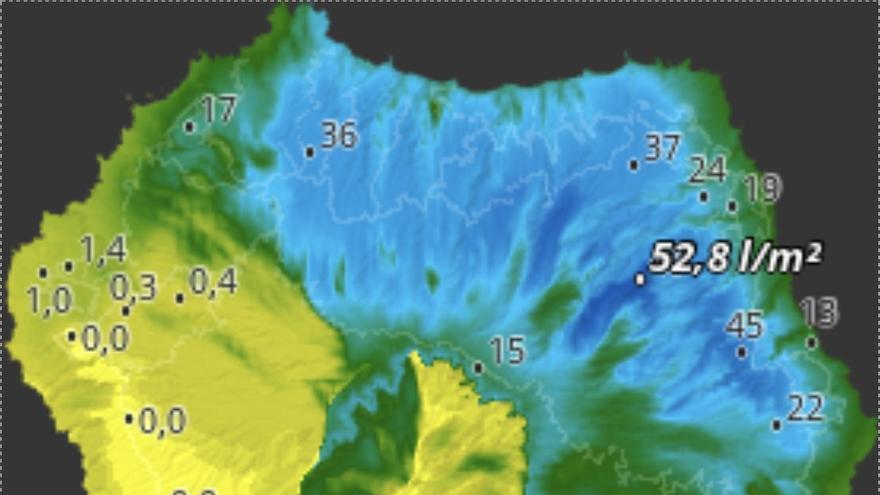 Mapa de HD Meteo La Palma de la lluvia caída este domingo, hasta las 09:00 horas, en diversos puntos de la Isla.