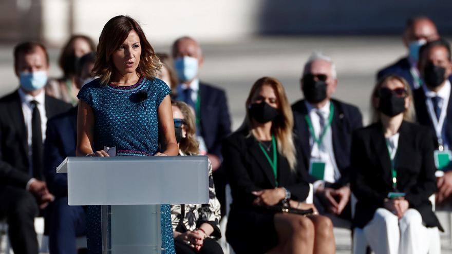 Aroa López, en su intervención en el homenaje a las víctimas del coronavirus.