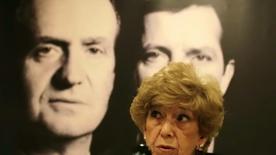 La periodista y escritora Pilar Urbano, en la presentación de 'La desmemoria' (Planeta), el 3 de abril de 2014 en Madrid. / Marta Jara
