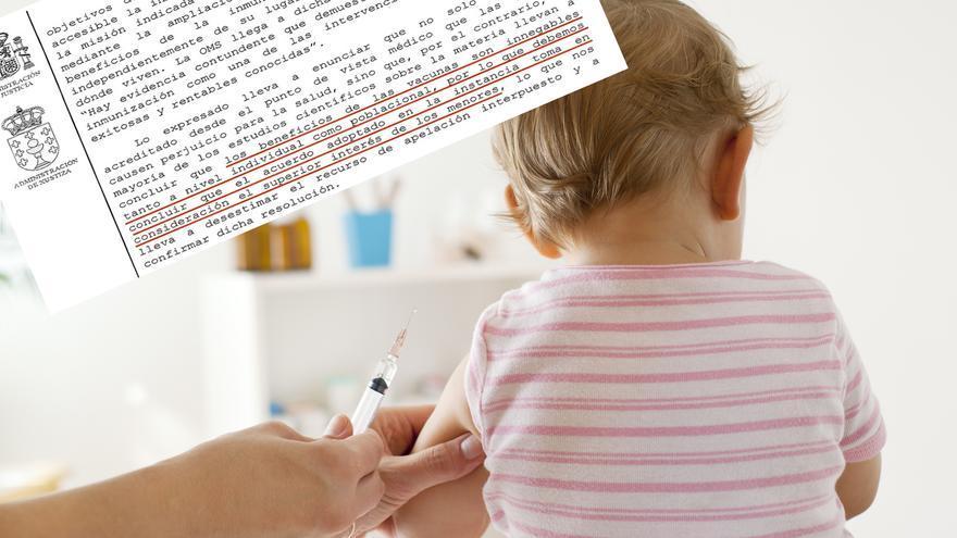 Vacunación infantil y fragmento del auto judicial