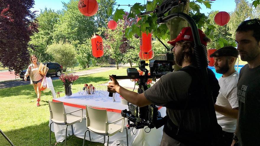 Un momento del rodaje del cortometraje en Amurrio.