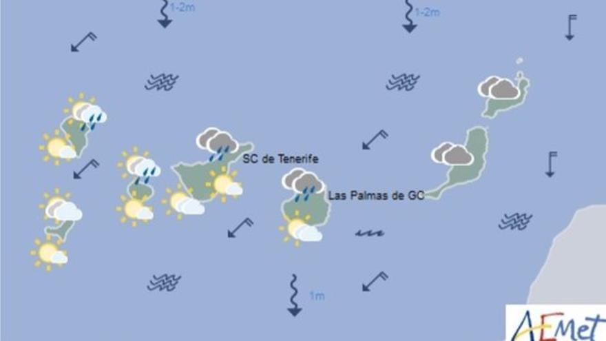 Mapa con la previsión meteorológica para este jueves, 15 de junio de 2017