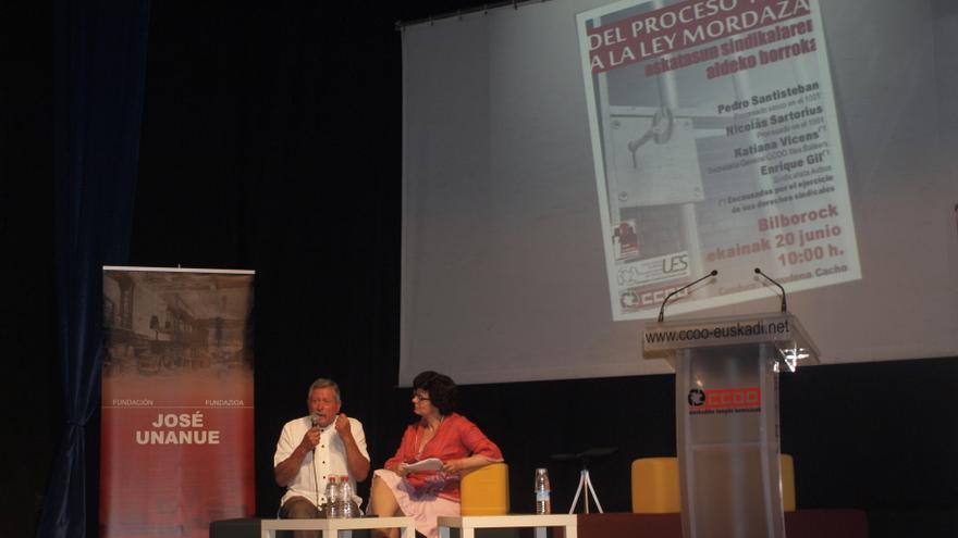 Pedro Santisteban recuerda el proceso 1001 en una jornada convocada por CCOO Euskadi en Bilbao.