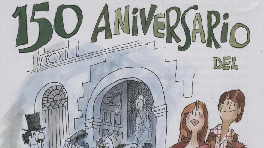 Antonio Mingote, ex alumno del Instituto,  realizó un dibujo para el cartel conmemorativo del 150 aniversario.