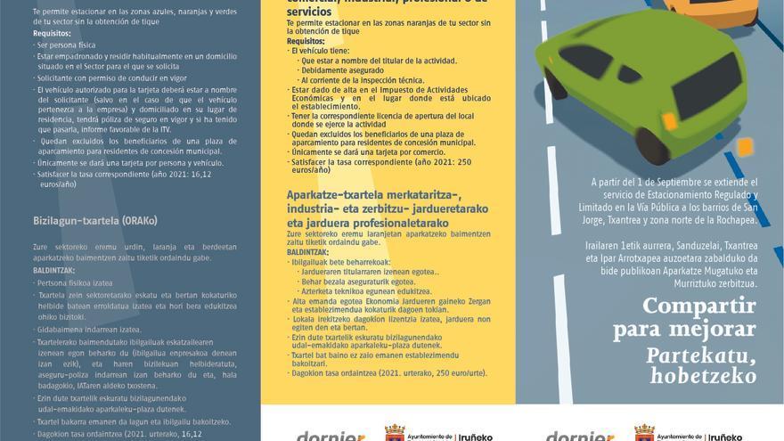 Tríptico editado por el Ayuntamiento de Pamplona sobre la ampliación de la zona azul