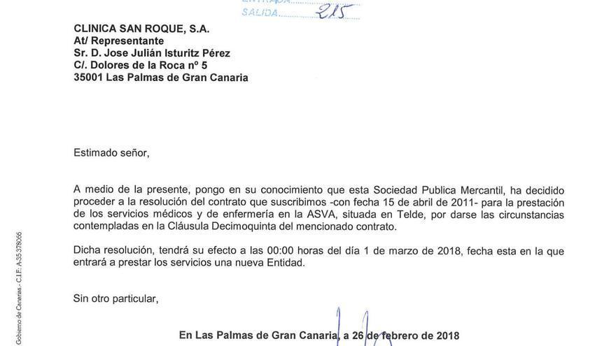 Carta remitida por GSC a Clínicas San Roque.