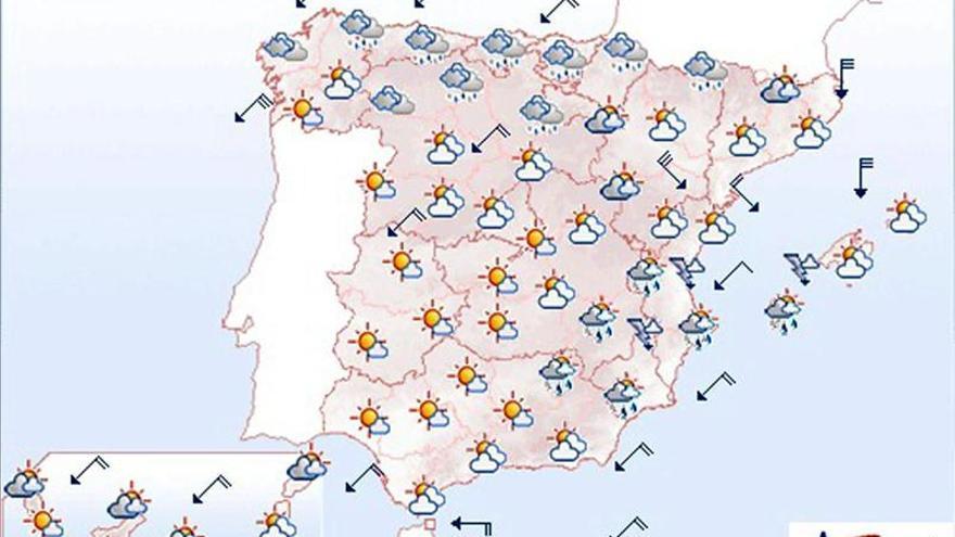 Mañana, lluvias localmente fuertes en el sureste peninsular y en Ibiza