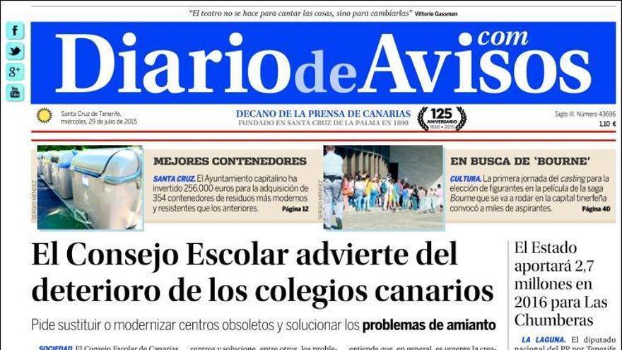 Portada de Diario de Avisos de este miércoles, 29 de julio de 2015.