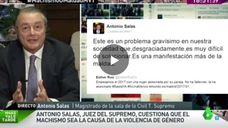 El magistrado del Supremo Antonio Salas, en el programa Más Vale Tarde, de La Sexta.