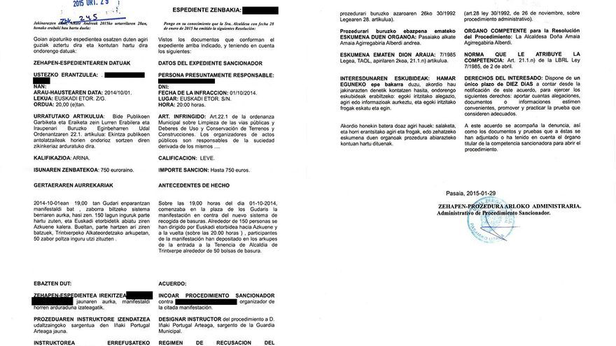 Notificación de incoación de Expediente Sancionador recibida por el organizador de las manifestaciones anti PaP.