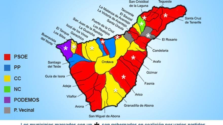 Mapa político de la isla de Tenerife.