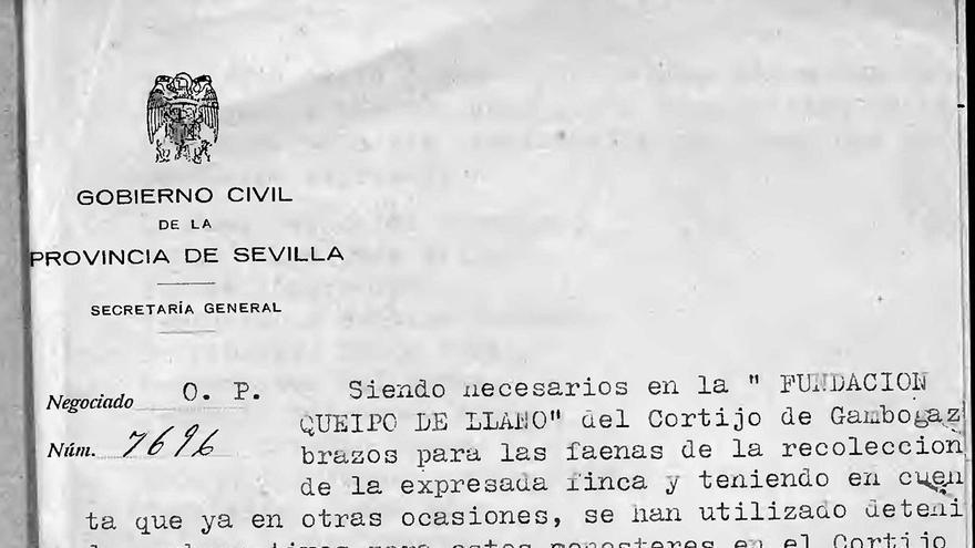 Petición de presos para trabajos forzados en el cortijo de Gambogaz en 1939. |