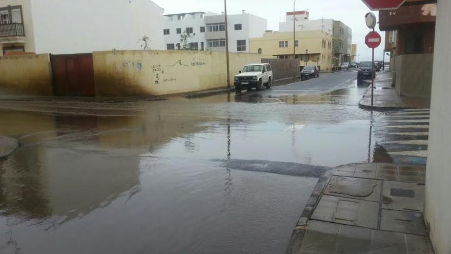 Calles anegadas en Corralejo, Fuerteventura.