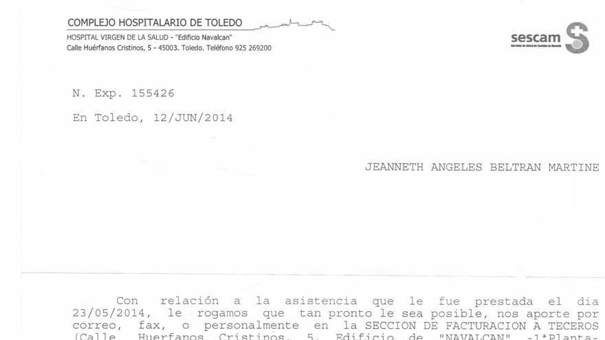 La carta que reclama la documentación a la fallecida Jeanneth.