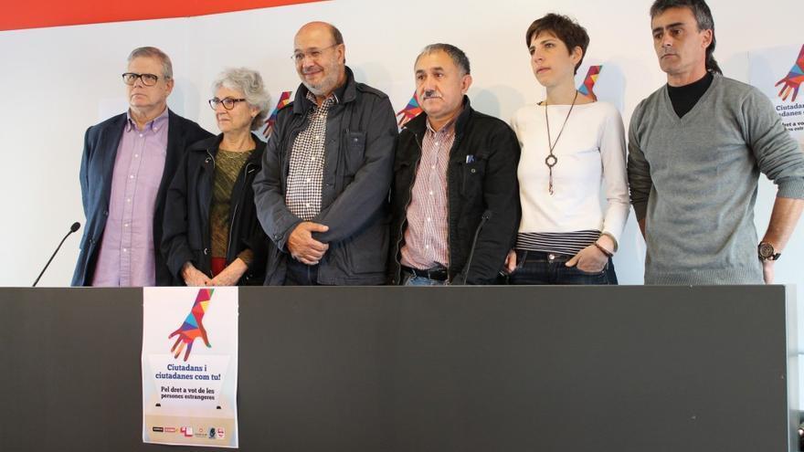 Marfany, Casals, Gallego, Àlvarez, Cuevas y Muñoz, durante la presentación de la campaña