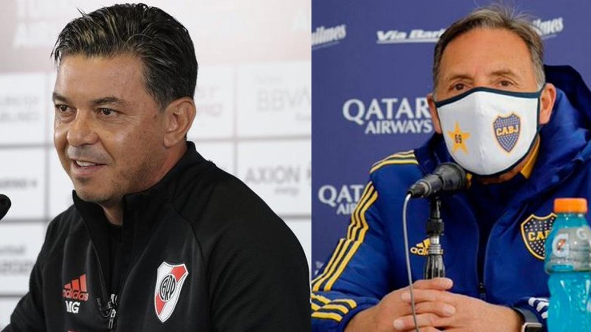 Marcelo Gallardo y Miguel Ángel Russo en conferencia de prensa