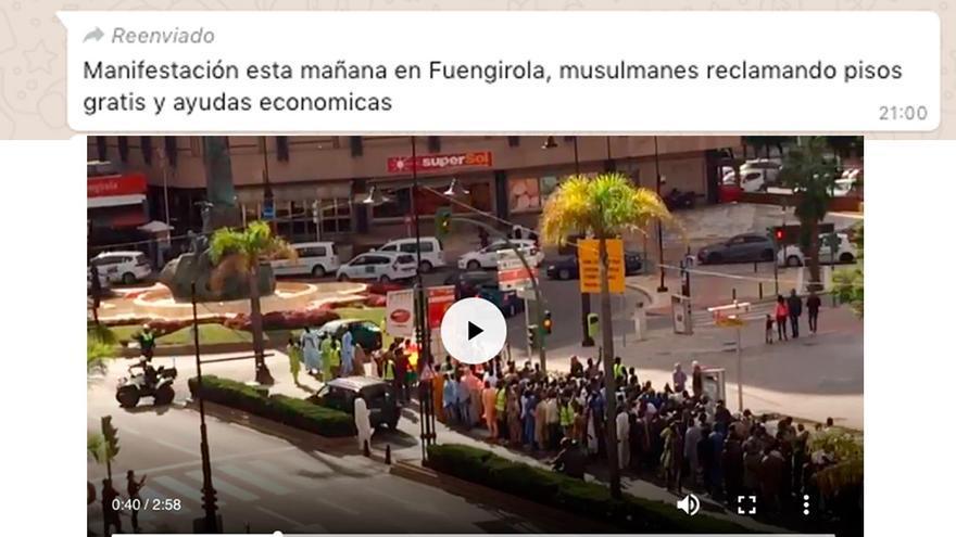 """No, los manifestantes del vídeo de Fuengirola no son """"musulmanes reclamando pisos gratis y ayudas económicas"""""""