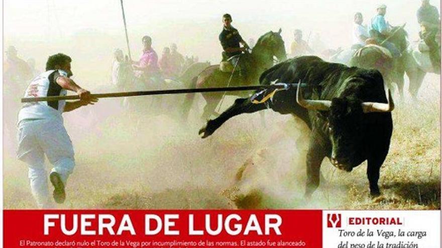 Fragmento de la portada de El Día de Valladolid del 12 de septiembre.