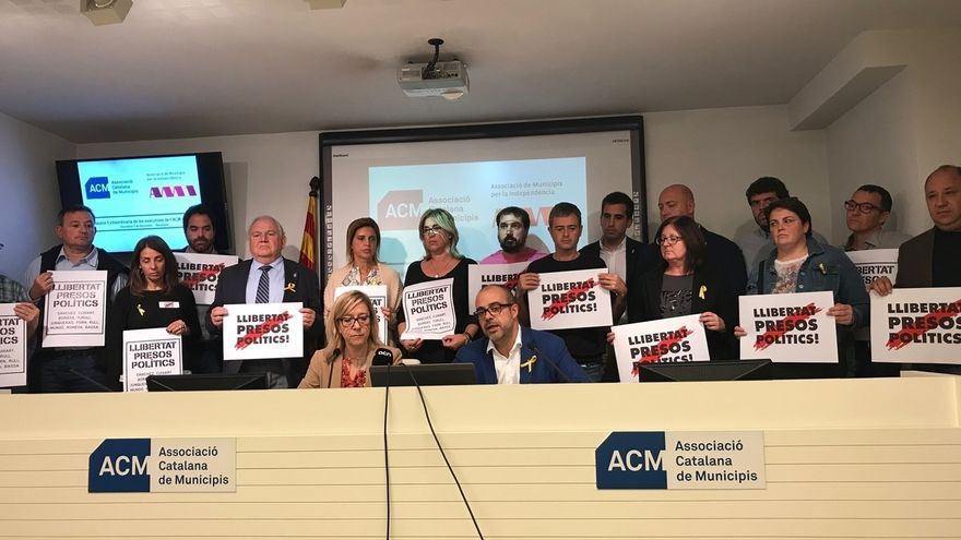 Rueda de prensa de los alcaldes soberanistas contra la investigación del 1-O