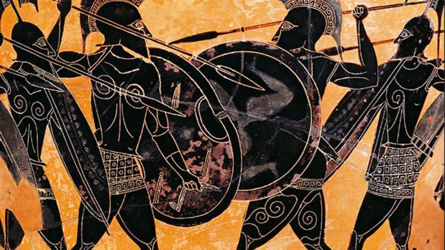 Soldados espartanos entrenándose en la época de la guerra del Peloponeso.