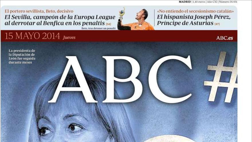 Portada del Diario ABC del 15 de mayo de 2104