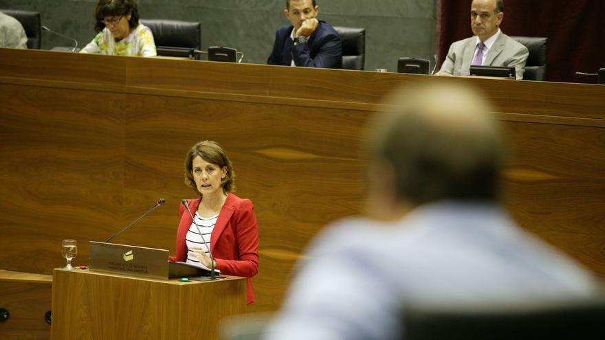 Barcina en su intervención en el pleno sobre autogobierno. Foto: Parlamento de Navarra