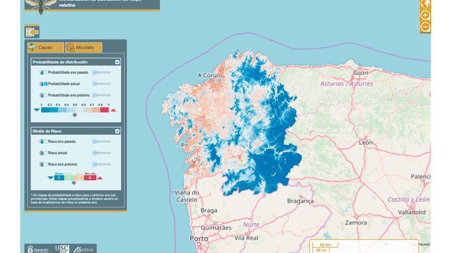 Mapa de seguimiento de la expansión de la avispa velutina por Galicia