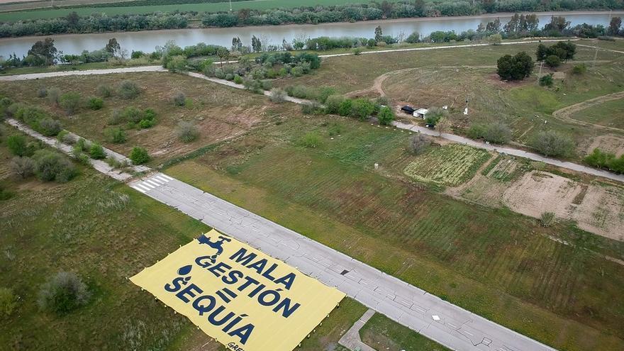 "Greenpeace reprocha a la CHG con una pancarta gigante la ""mala gestión"" del agua en Andalucía"