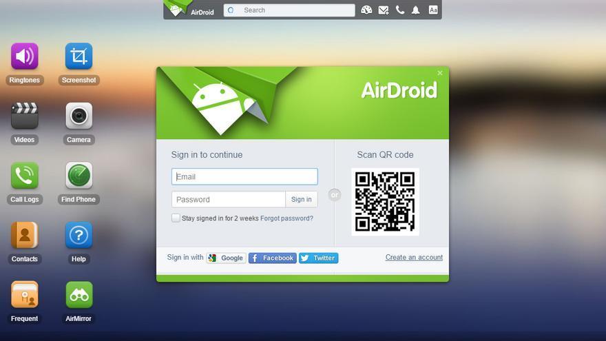 AirDroid permite controlar nuestro móvil desde el ordenador