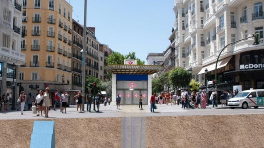 Recreación de los exteriores de la Red de San Luis con el templete | COMUNIDAD DE MADRID