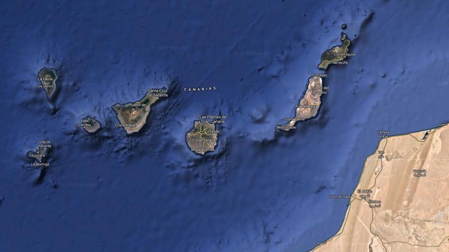 Mapa de Canarias y de la costa del Sáhara occidental