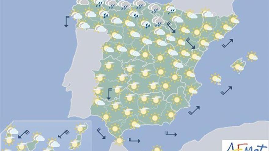 Lluvias débiles en el norte y temperaturas sin cambios para mañana