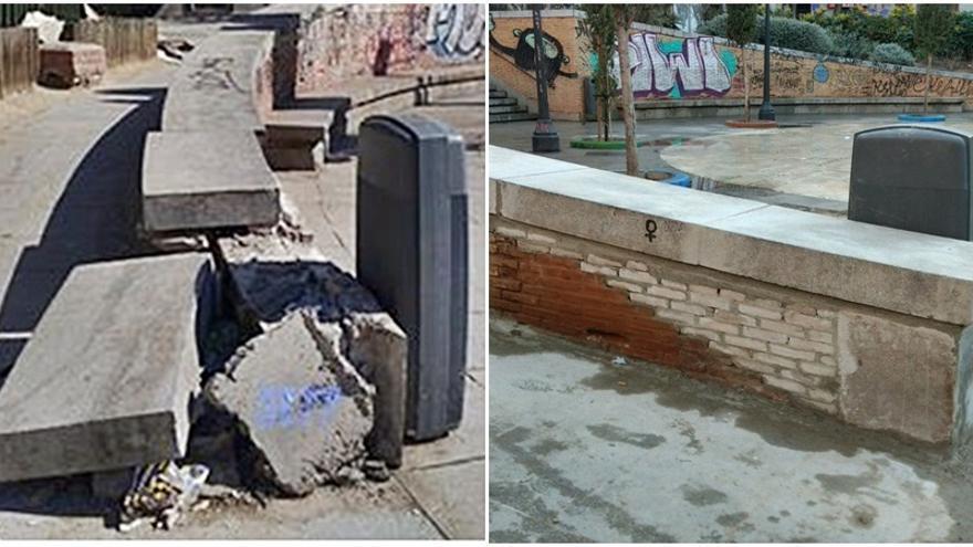 Estados de los muros en el Dos de Mayo, antes y después de la reparación | SOMOS MALASAÑA